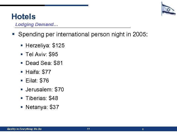 Hotels Lodging Demand… § Spending per international person night in 2005: § Herzeliya: $125