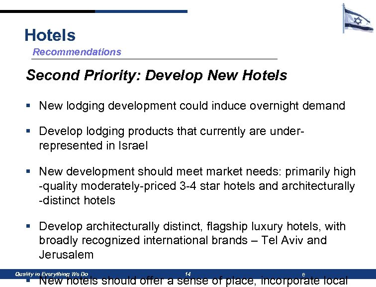 Hotels Recommendations Second Priority: Develop New Hotels § New lodging development could induce overnight
