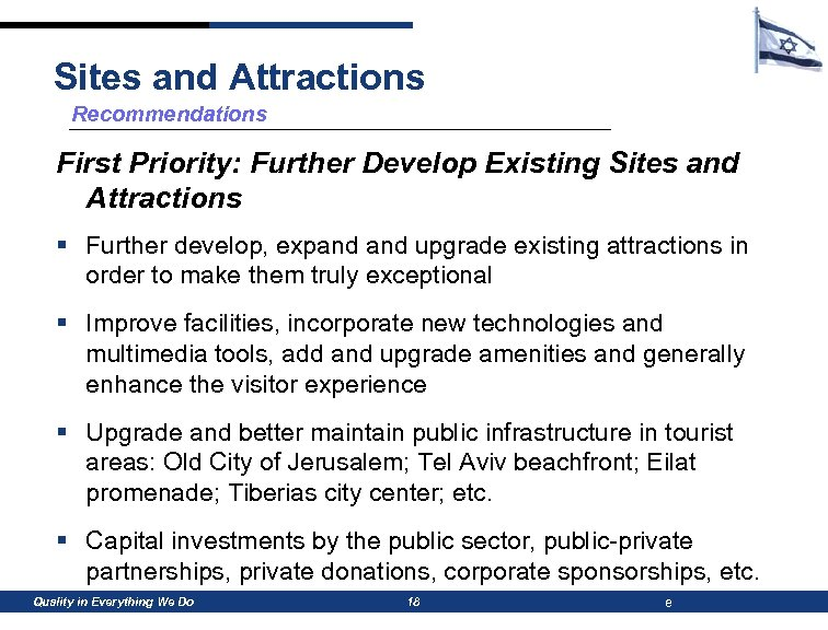 Sites and Attractions Recommendations First Priority: Further Develop Existing Sites and Attractions § Further