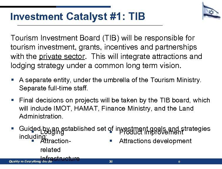 Investment Catalyst #1: TIB Tourism Investment Board (TIB) will be responsible for tourism investment,