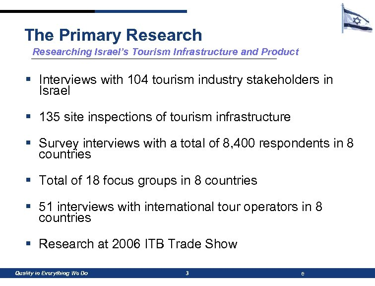 The Primary Researching Israel's Tourism Infrastructure and Product § Interviews with 104 tourism industry