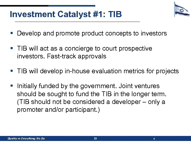 Investment Catalyst #1: TIB § Develop and promote product concepts to investors § TIB