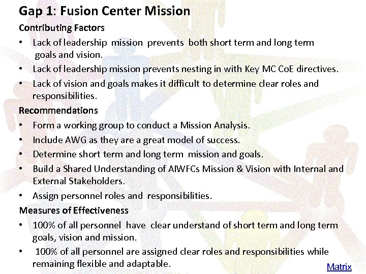 Gap 1: Fusion Center Mission Contributing Factors • Lack of leadership mission prevents both