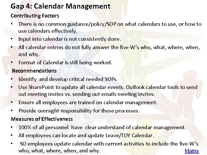 Gap 4: Calendar Management Contributing Factors • There is no common guidance/policy/SOP on what