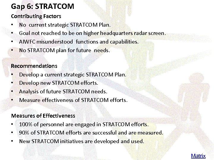 Gap 6: STRATCOM Contributing Factors • No current strategic STRATCOM Plan. • Goal not