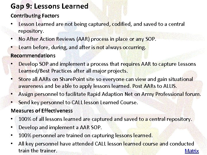 Gap 9: Lessons Learned Contributing Factors • Lesson Learned are not being captured, codified,