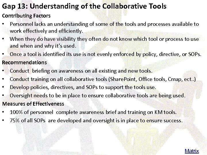 Gap 13: Understanding of the Collaborative Tools Contributing Factors • Personnel lacks an understanding