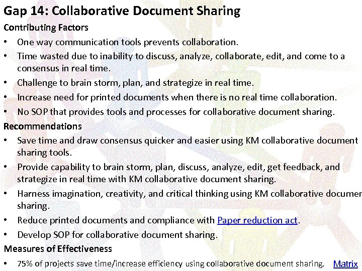 Gap 14: Collaborative Document Sharing Contributing Factors • One way communication tools prevents collaboration.