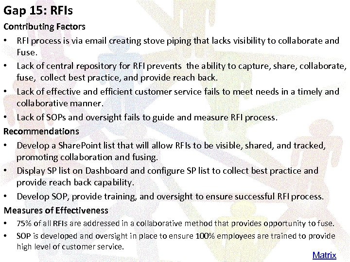 Gap 15: RFIs Contributing Factors • RFI process is via email creating stove piping