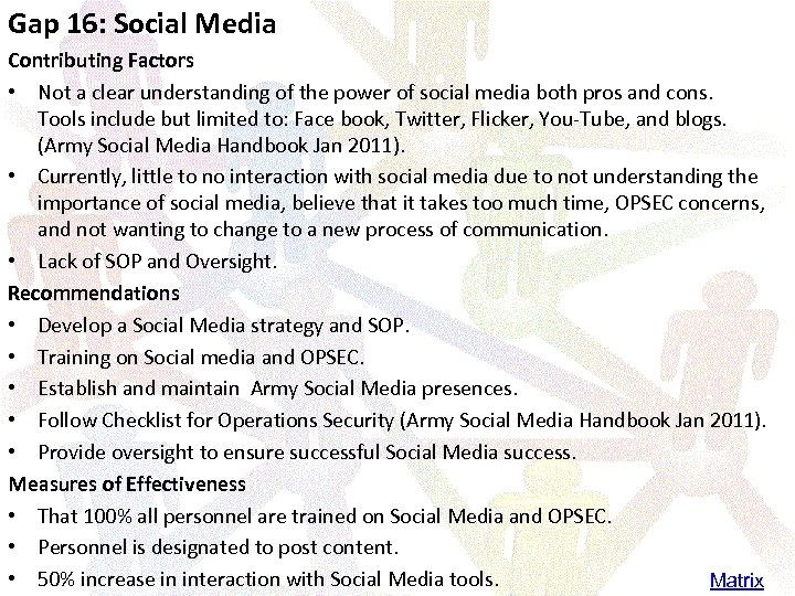 Gap 16: Social Media Contributing Factors • Not a clear understanding of the power