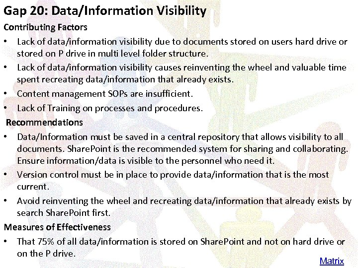 Gap 20: Data/Information Visibility Contributing Factors • Lack of data/information visibility due to documents