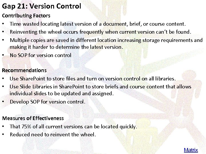 Gap 21: Version Control Contributing Factors • Time wasted locating latest version of a