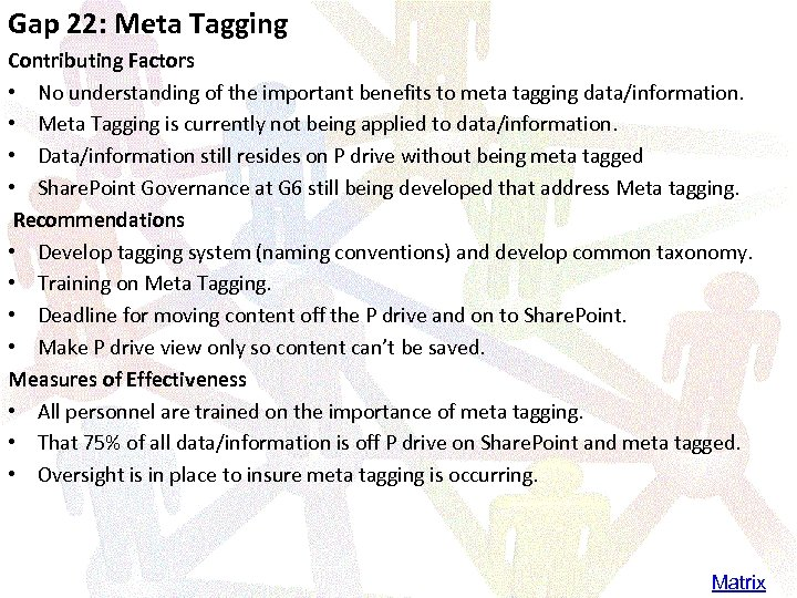Gap 22: Meta Tagging Contributing Factors • No understanding of the important benefits to