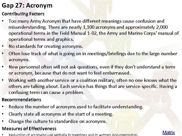 Gap 27: Acronym Contributing Factors • Too many Army Acronym that have different meanings