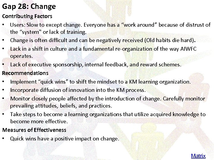 Gap 28: Change Contributing Factors • Users: Slow to except change. Everyone has a