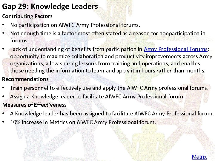 Gap 29: Knowledge Leaders Contributing Factors • No participation on AIWFC Army Professional forums.