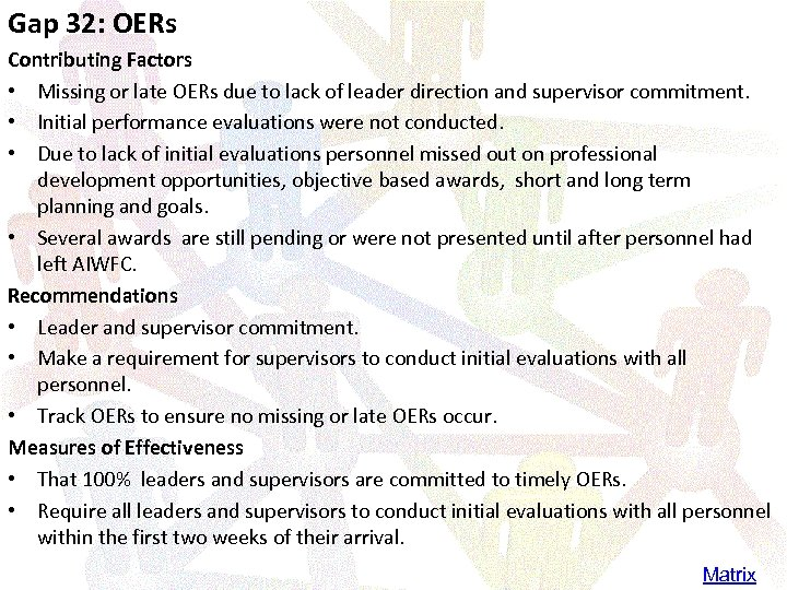 Gap 32: OERs Contributing Factors • Missing or late OERs due to lack of