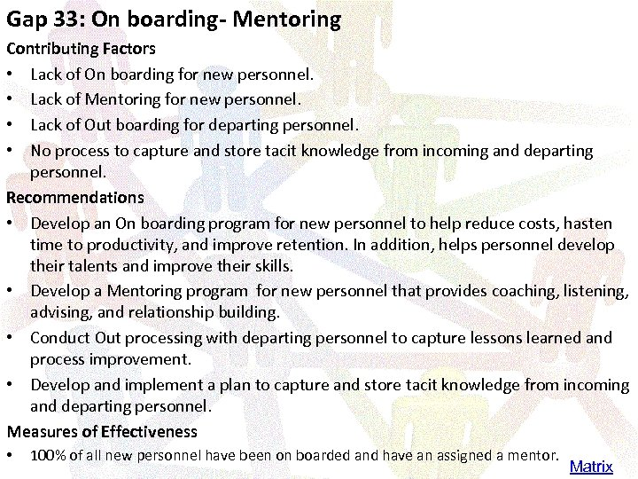 Gap 33: On boarding- Mentoring Contributing Factors • Lack of On boarding for new