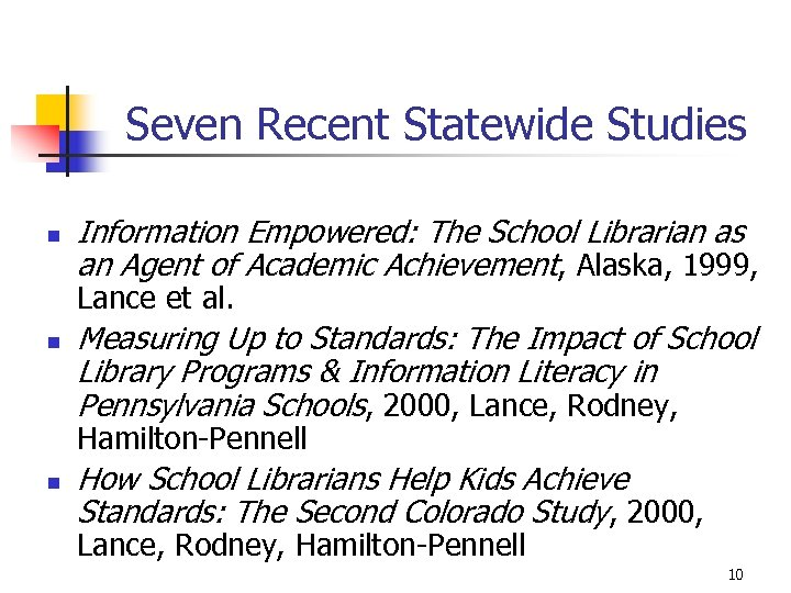 Seven Recent Statewide Studies n Information Empowered: The School Librarian as an Agent of