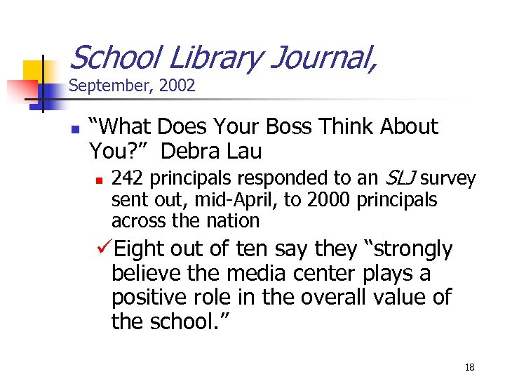 "School Library Journal, September, 2002 n ""What Does Your Boss Think About You? """
