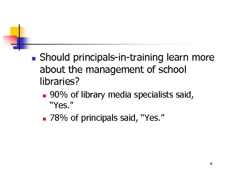 n Should principals-in-training learn more about the management of school libraries? n n 90%