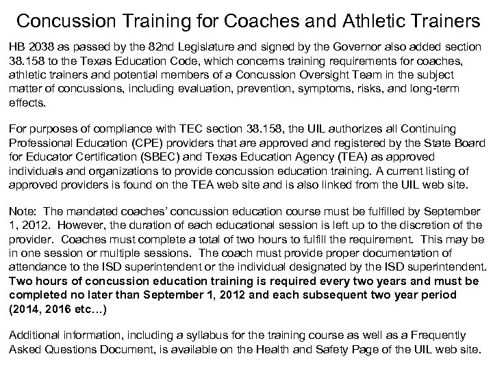 Concussion Training for Coaches and Athletic Trainers HB 2038 as passed by the 82