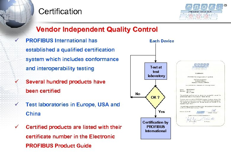 Certification Vendor Independent Quality Control ü PROFIBUS International has Each Device established a qualified