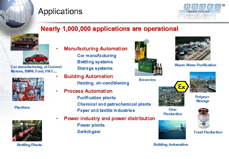 Applications Nearly 1, 000 applications are operational • Car manufacturing, at General Motors, BMW,