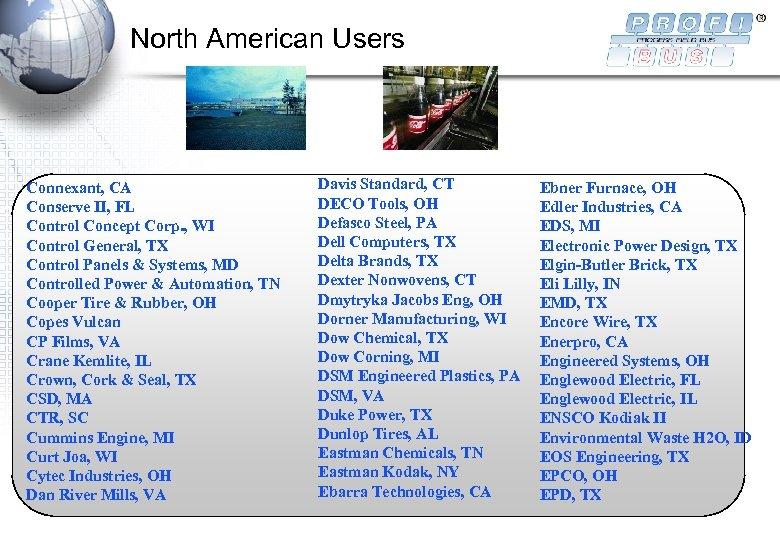 North American Users Connexant, CA Conserve II, FL Control Concept Corp. , WI Control
