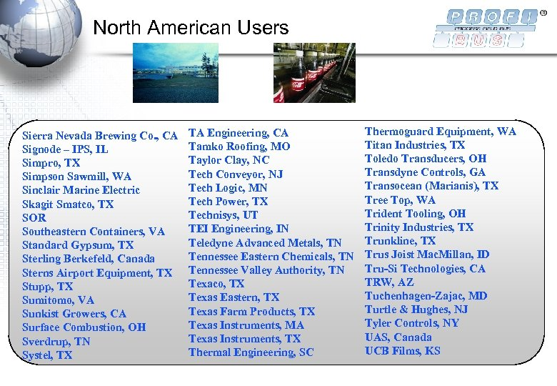 North American Users Sierra Nevada Brewing Co. , CA Signode – IPS, IL Simpro,