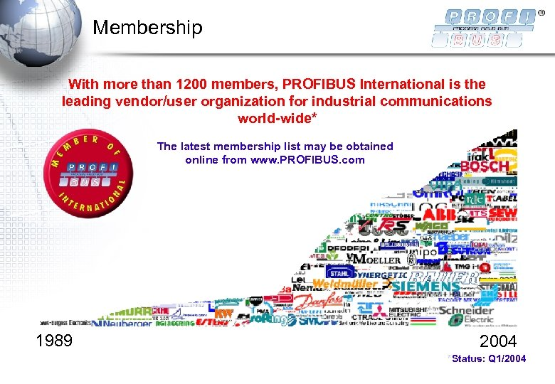 Membership With more than 1200 members, PROFIBUS International is the leading vendor/user organization for