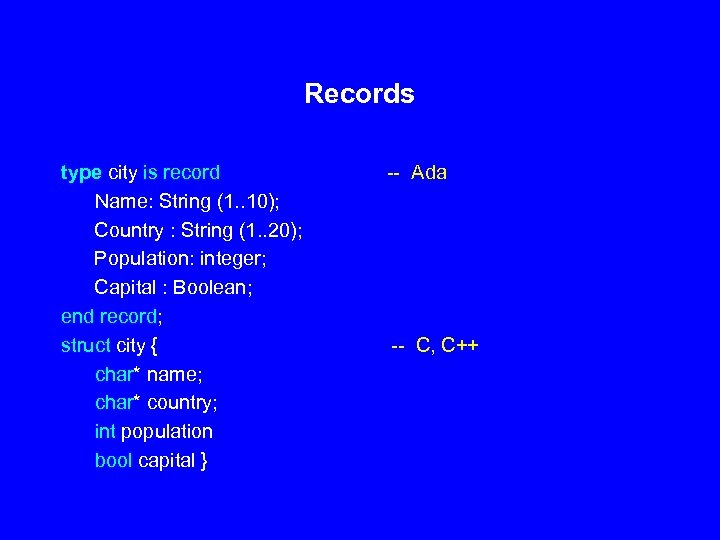 Records type city is record Name: String (1. . 10); Country : String (1.