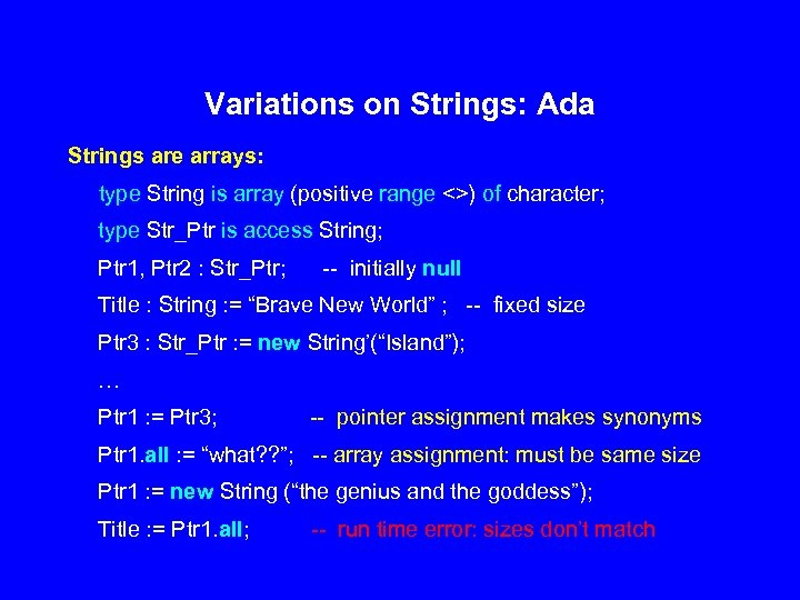 Variations on Strings: Ada Strings are arrays: type String is array (positive range <>)