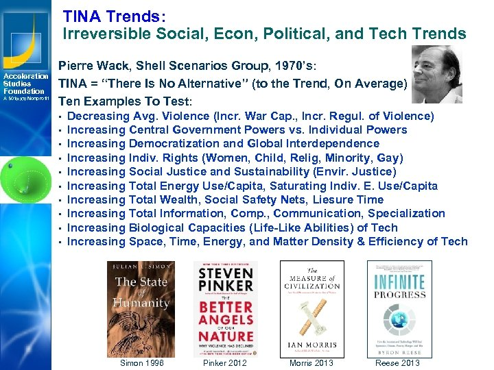TINA Trends: Irreversible Social, Econ, Political, and Tech Trends Acceleration Studies Foundation A 501(c)(3)