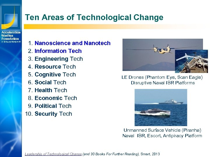 Ten Areas of Technological Change Acceleration Studies Foundation A 501(c)(3) Nonprofit 1. Nanoscience and