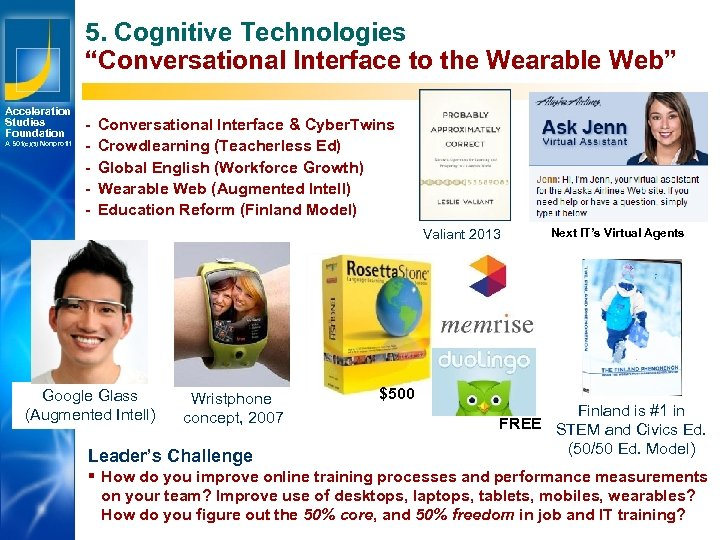 "5. Cognitive Technologies ""Conversational Interface to the Wearable Web"" Acceleration Studies Foundation A 501(c)(3)"