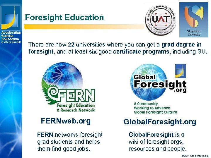 Foresight Education Acceleration Studies Foundation A 501(c)(3) Nonprofit There are now 22 universities where
