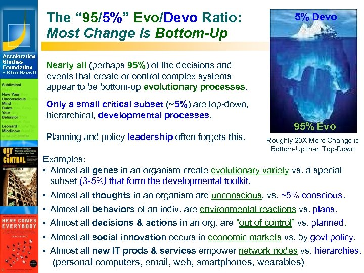 "The "" 95/5%"" Evo/Devo Ratio: Most Change is Bottom-Up Acceleration Studies Foundation A 501(c)(3)"