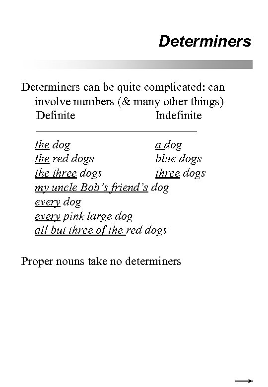 Determiners can be quite complicated: can involve numbers (& many other things) Definite Indefinite