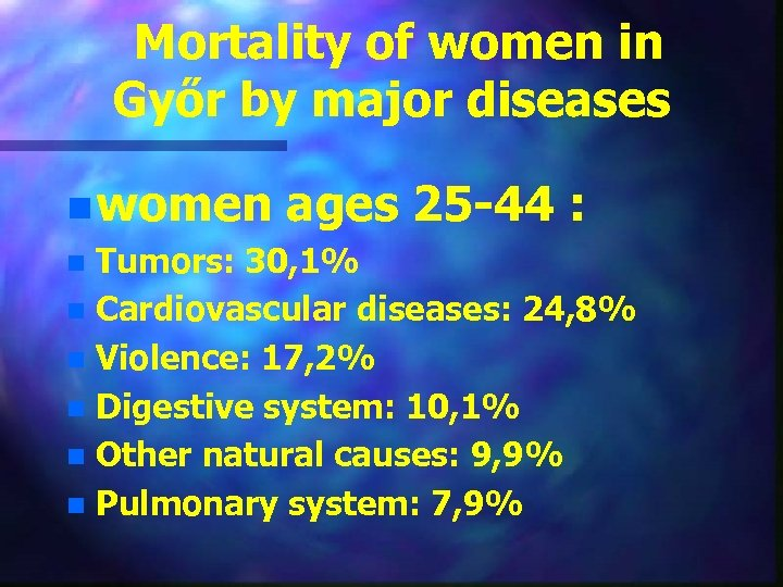 Mortality of women in Győr by major diseases n women ages 25 -44 :