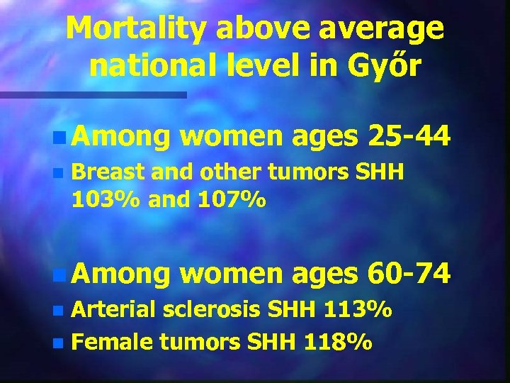 Mortality above average national level in Győr n Among n women ages 25 -44