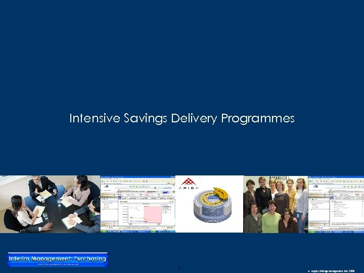 Intensive Savings Delivery Programmes 1 © supply chainge management ltd. 2008