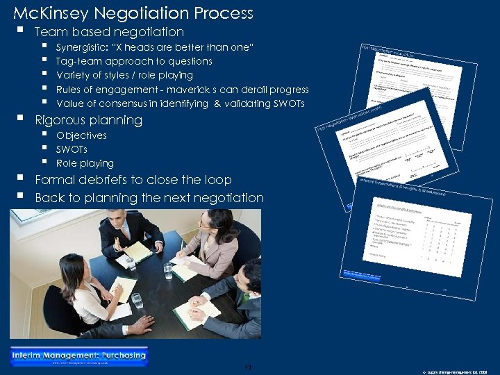 "Mc. Kinsey Negotiation Process § § Team based negotiation § § § Synergistic: ""X"
