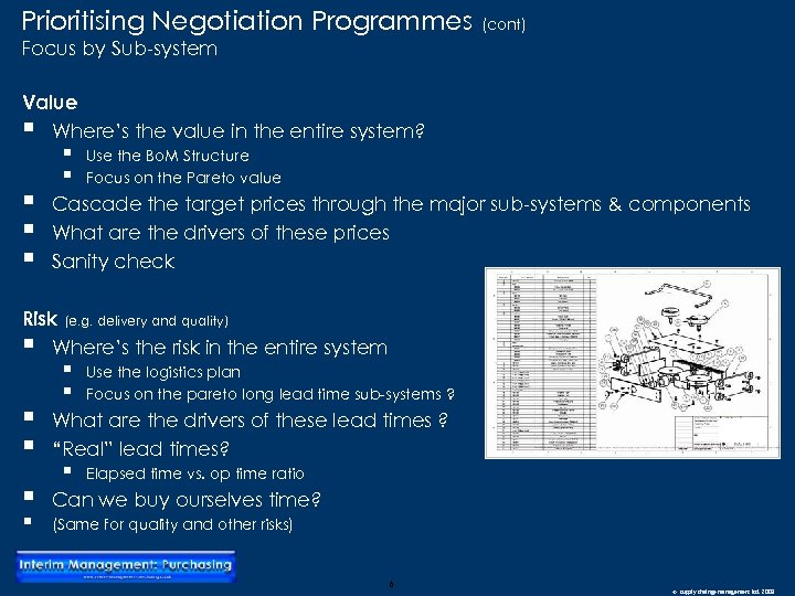 Prioritising Negotiation Programmes (cont) Focus by Sub-system Value § Where's the value in the