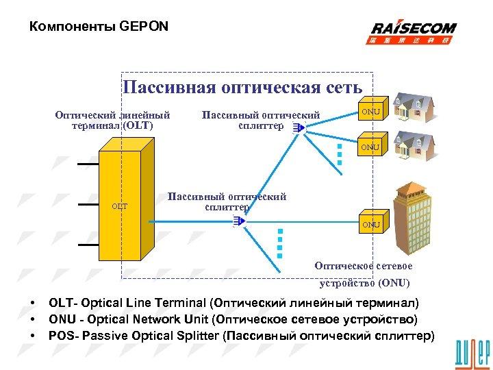 Компоненты GEPON Пассивная оптическая сеть Оптический линейный терминал (OLT) Пассивный оптический сплиттер ONU OLT