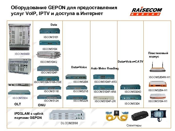 Оборудование GEPON для предоставления услуг Vo. IP, IPTV и доступа в Интернет Data ISCOM