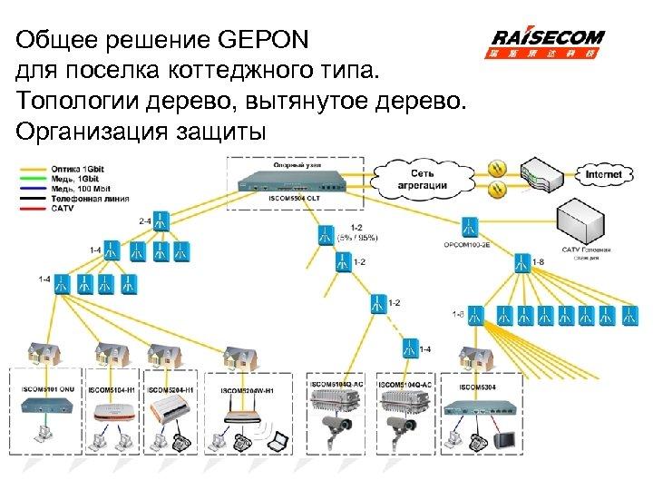 Общее решение GEPON для поселка коттеджного типа. Топологии дерево, вытянутое дерево. Организация защиты