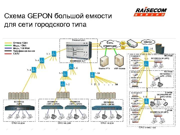 Схема GEPON большой емкости для сети городского типа