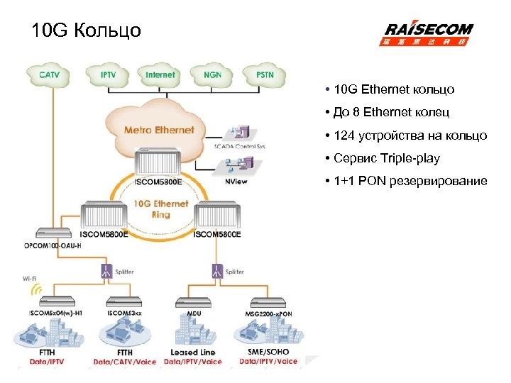 10 G Кольцо • 10 G Ethernet кольцо • До 8 Ethernet колец •