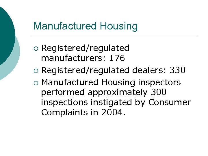 Manufactured Housing Registered/regulated manufacturers: 176 ¡ Registered/regulated dealers: 330 ¡ Manufactured Housing inspectors performed